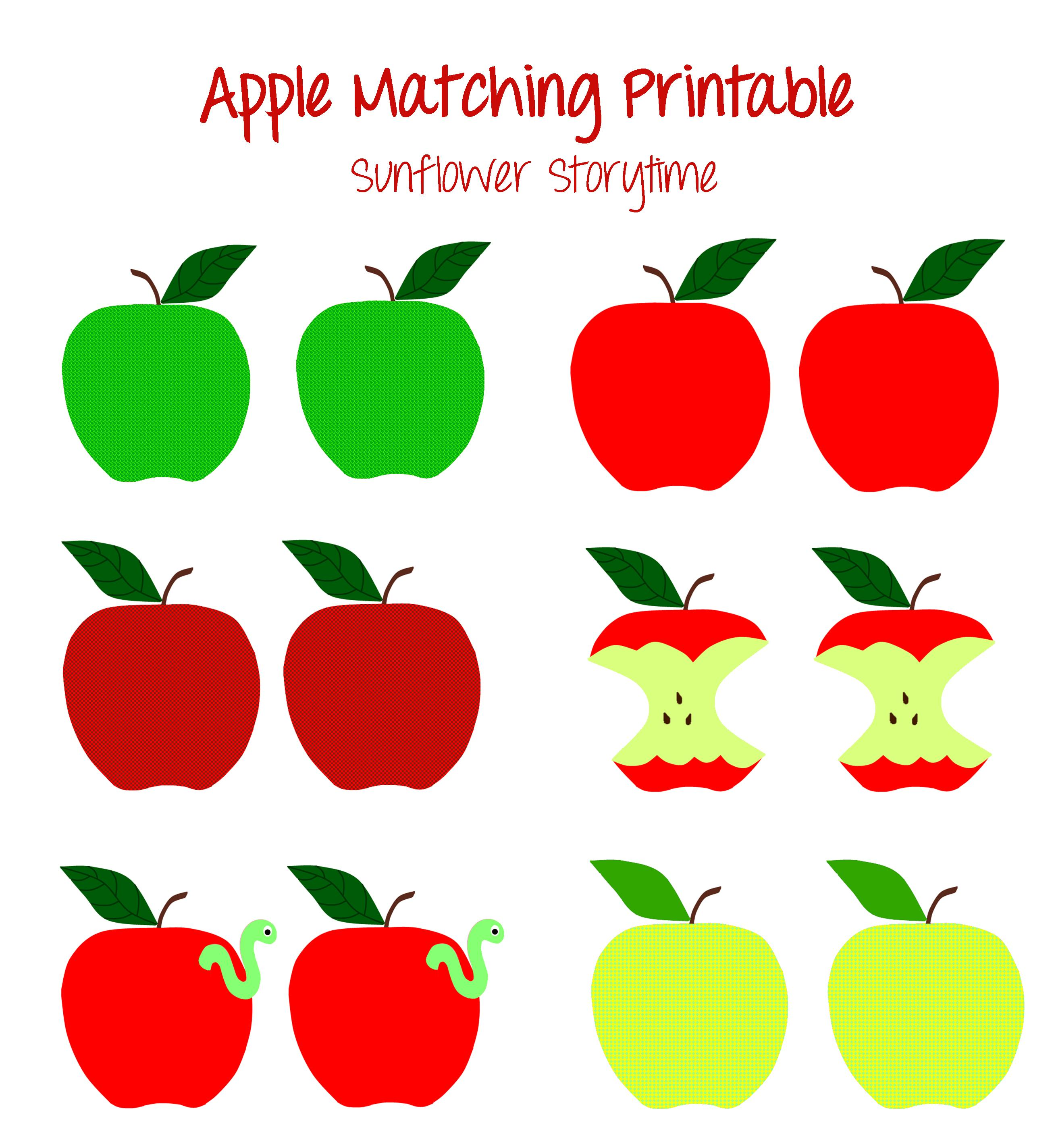 graphic about Apple Printable named Apple Matching Printable Sunflower Storytime