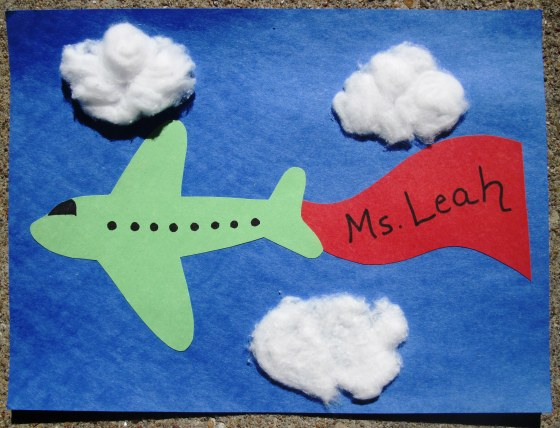 Sunflower Storytime: Airplane Craft