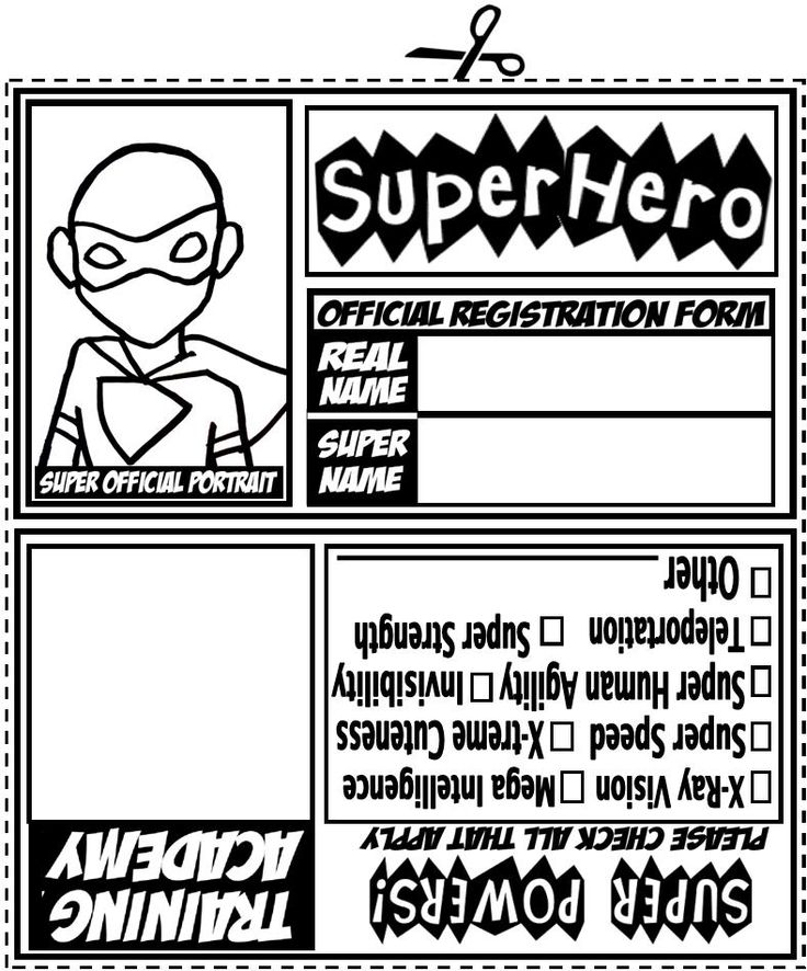 Printable PDF File for I.D. Tags (6 per page): Superhero ID