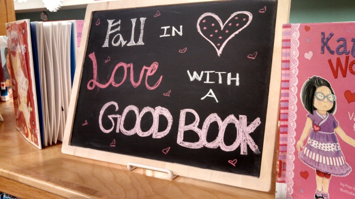 Sunflower Storytime: Fall in Love with a Good Book -  Chalkboard Book Display