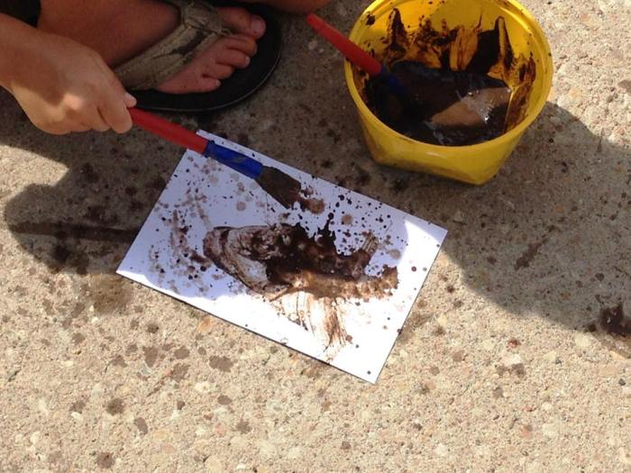 Mud Painting from Sunflower Storytime