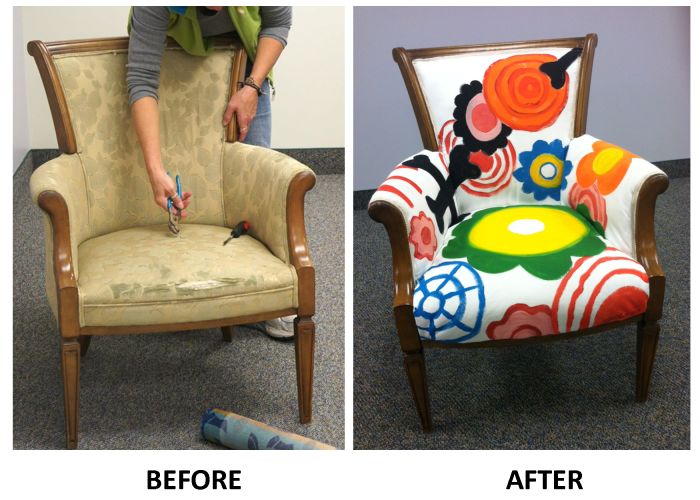 Reupholstered Painted Chair Before & After (Sunflower Storytime)