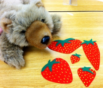 Five Ripe Strawberries and a Bear