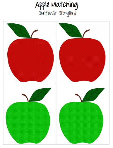 Apple Matching Free Printable from Sunflower Storytime